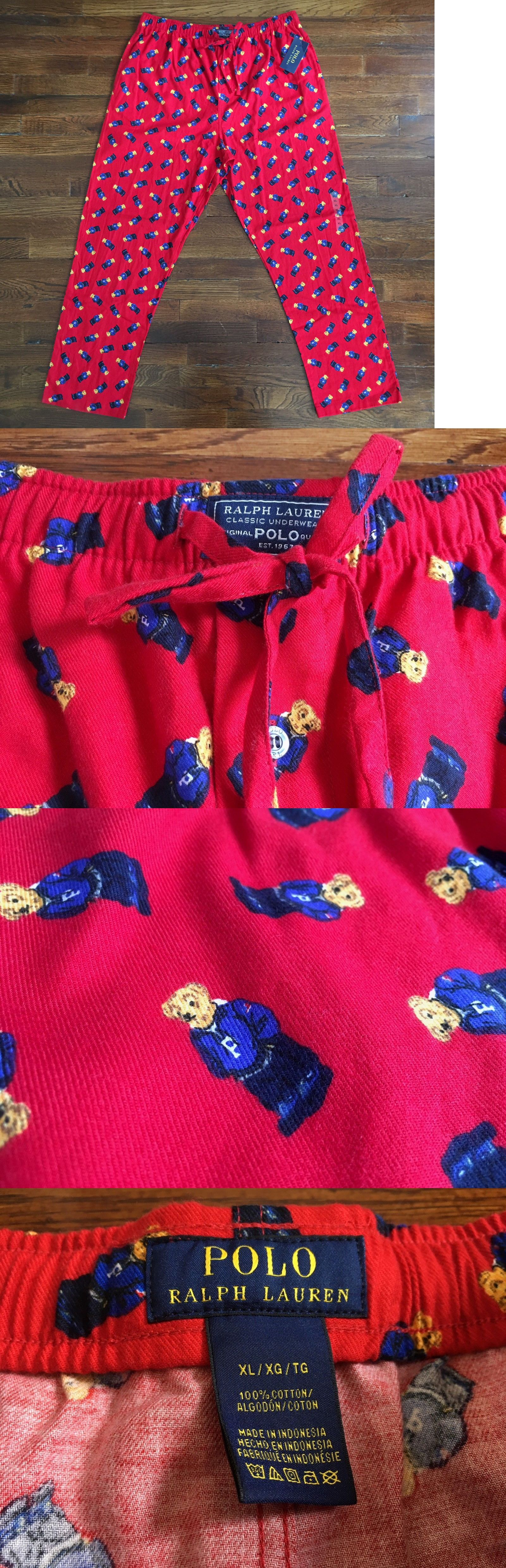 Red flannel pajama pants   NWT Polo Ralph Lauren Mens Red Bear Pajama Pants Lightweight