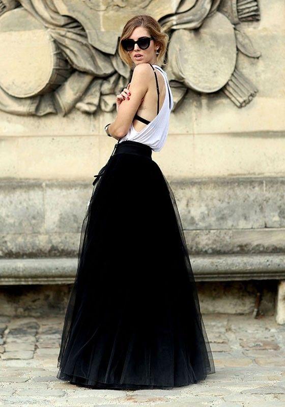 9f7e69eaf Black Plain Grenadine Draped Puffy Tulle High Waisted Floor Length Fashion  Tutu Maxi Skirt - Skirts - Bottoms