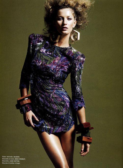 """glamandvanity:  """" Gisele Bündchen in 'Gisele'  Photographer: Greg Kadel  Dress: Balmain S/S 2009  Numéro #101 March 2009  """""""