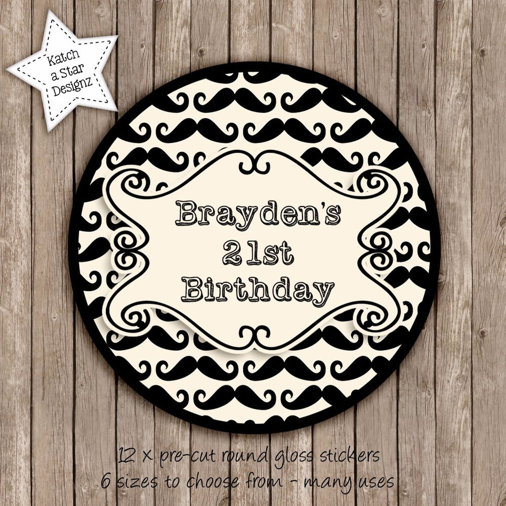 Moustache any colour age personalised round gloss birthday party