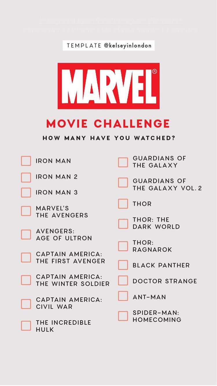 Marvel Movie Challenge Instagram Story Template by @kelseyinlondon ...
