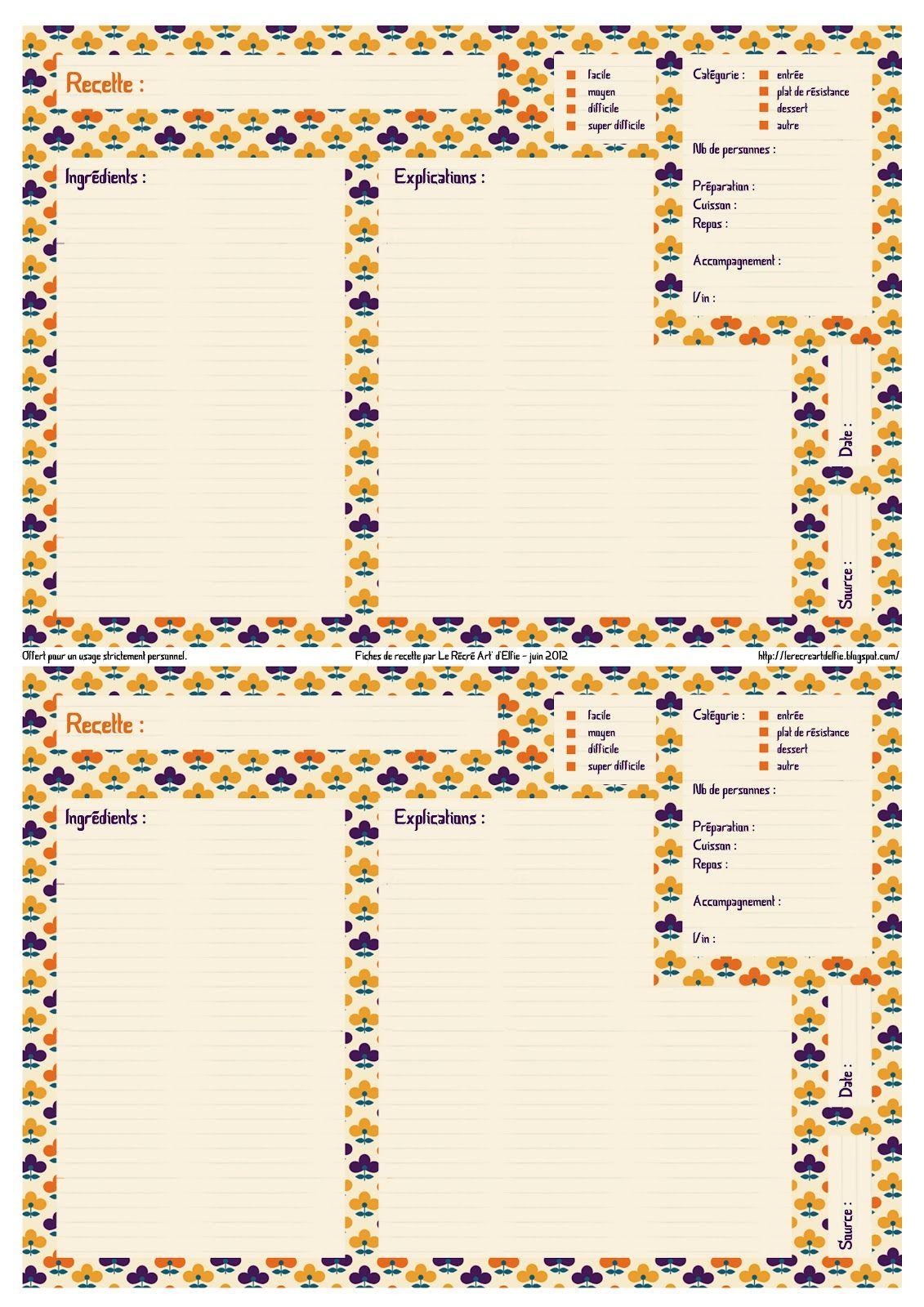freebies t l charger fiches recette recto by le r cr art 39 d 39 elfie le r cr art delfie my. Black Bedroom Furniture Sets. Home Design Ideas