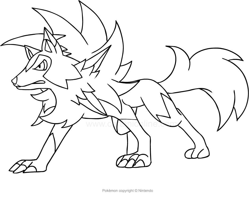 Disegno Di Lycanroc Dei Pokemon Da Stampare E Colorare Pokemon