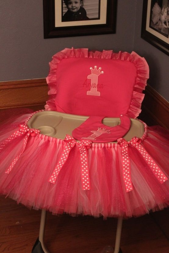 DIY Highchair Tutu for baptism? Birthday? Sell as a set with bib and pillow. @Angie Jimenez