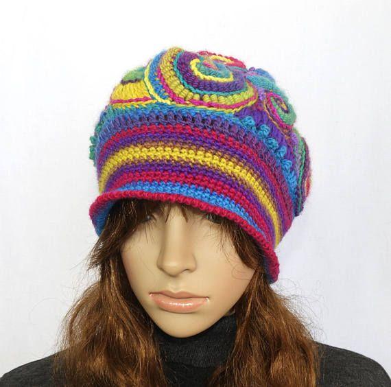 Rainbow Crochet Beanie Hat Beret, OOAK Freeform Crochet in Rainbow ...