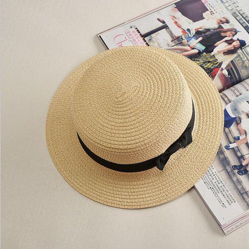 112e1d36 $10.02 - Cool Ladybro 2017 Summer Women Boater Beach Hat Female Casual  Panama Hat Lady Brand Classic Bowknot Straw Flat Sun Hat Women Fedora - Buy  it Now!