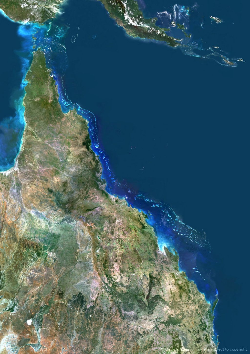 True Color Satellite Image Of The Great Barrier Reef