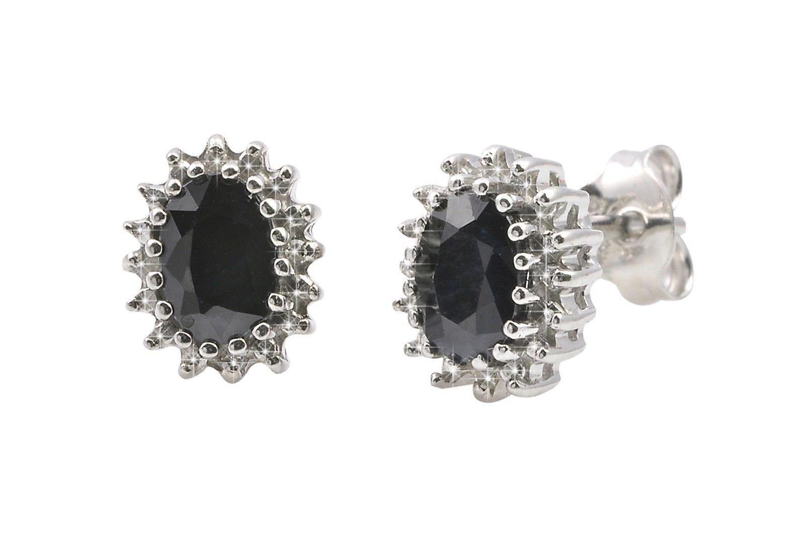 925 Silver Dark Sapphire & Diamond Stud Earrings Oval 2.1 TCW