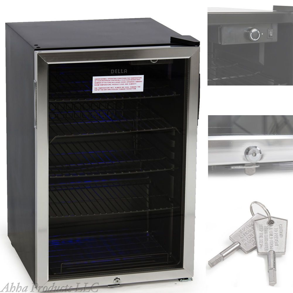 Glass Door Mini Refrigerator Wine Cooler Beer Beverage Bar Fridge With Key Lock Dolaplar