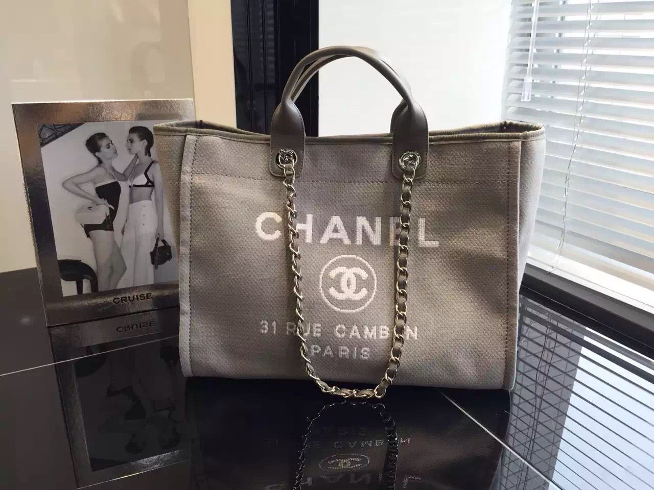 Chanel Toile Deauville Canvas Shopping Tote Bag 2015-2016 Collection ... 26da3e960cee2