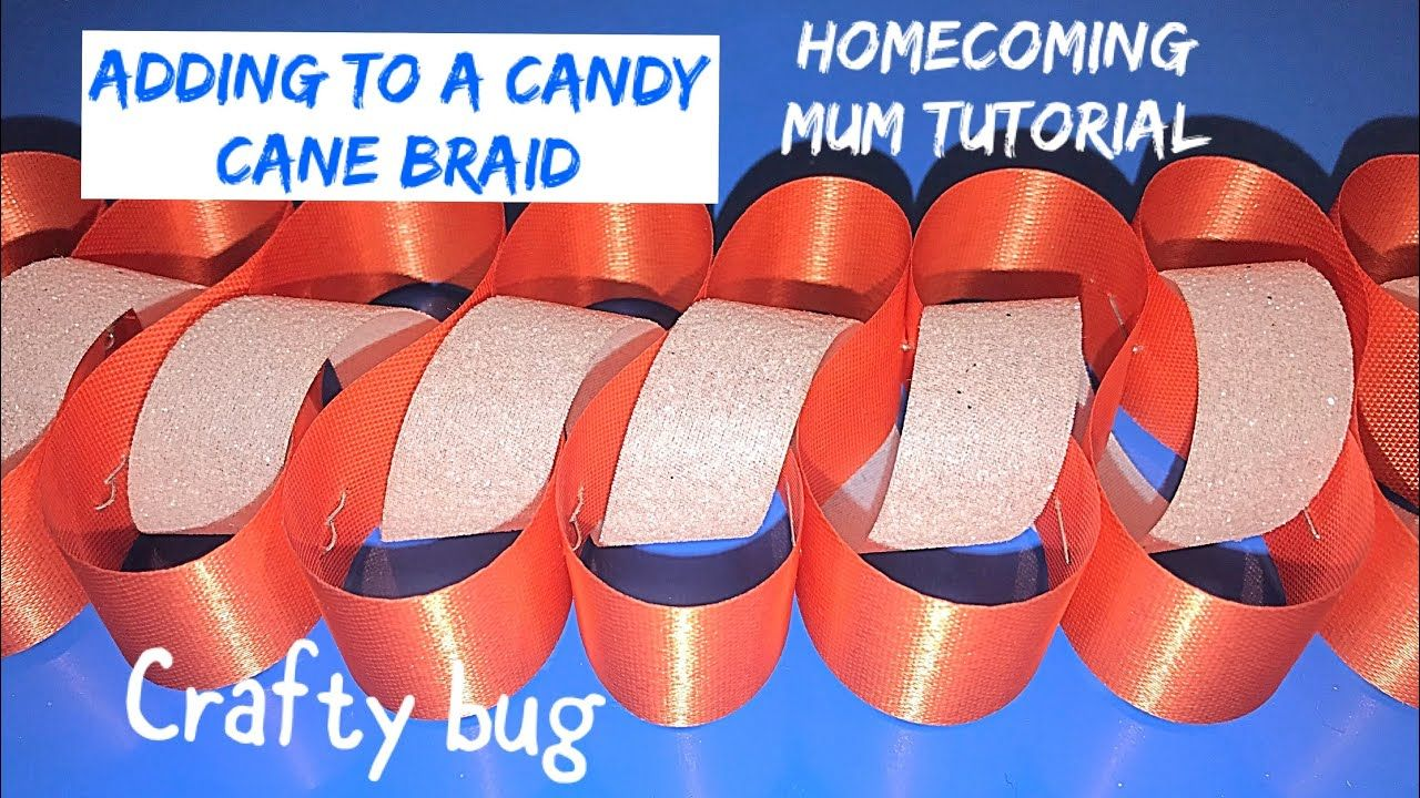 Weaving ribbon through CANDY CANE BRAID; homecoming mum braids and chains; DIY HOMECOMING MUMS
