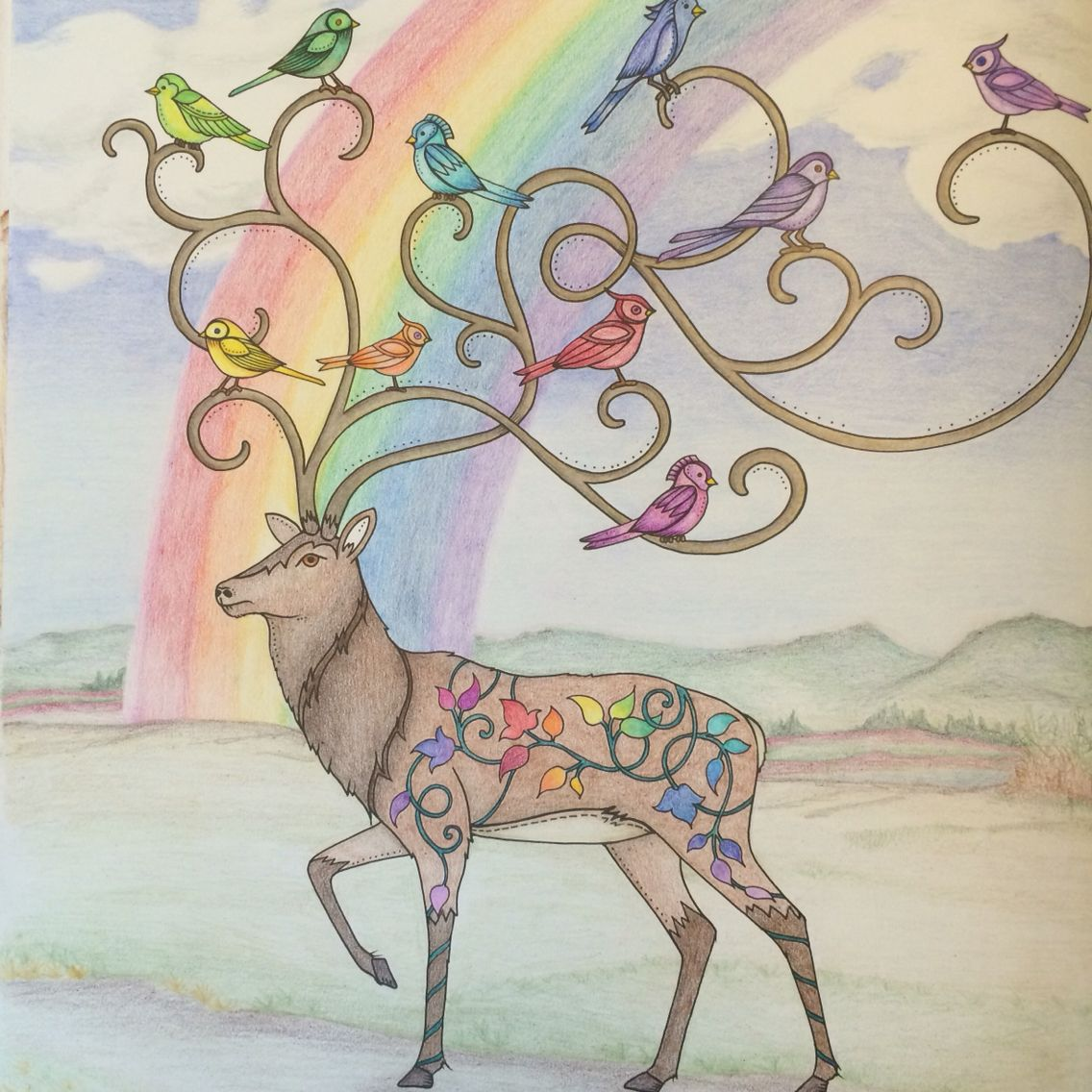 Johanna Basford Enchanted Forest Reindeer Prismacolor Pencils Coloring BooksAdult