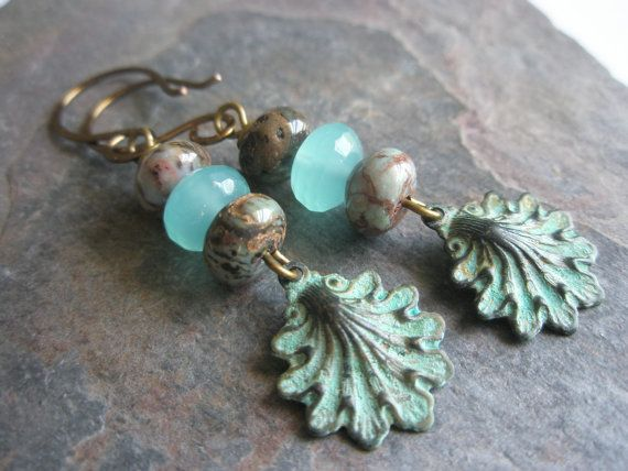 Gemstone+Earrings+Peruvian+Turquoise+Sea+Blue+by+esdesigns65