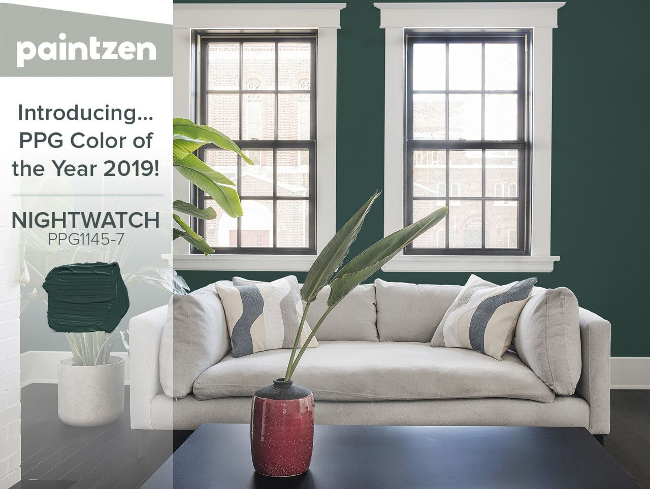 Color Ideas Get Ahead Of The Curb With Ppg S 2019 Paint Color Of The Year Night Watch Green Paint Interior Paint Colors Interior Paint Living Room Colors