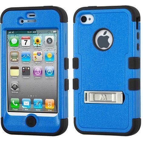 MYBAT TUFF w/ M-Stand Hybrid Case for iPhone 4 / 4S - Dark Blue/Black