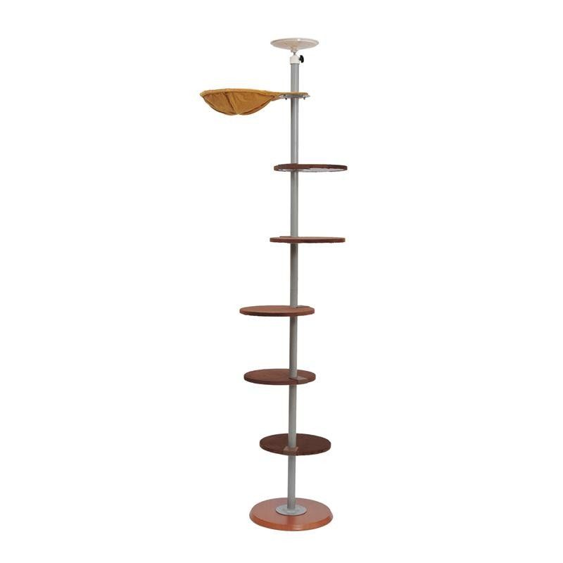 Pawhut 104 Quot Floor To Ceiling Adjustable Spiral Climbing Cat Tree Tower Cat Tree Cat Towers Cat Shelves
