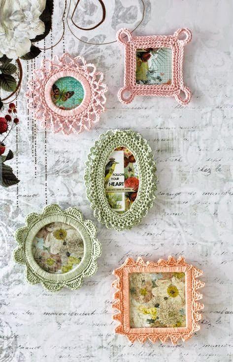 Ideas de decoración: marcos de fotos tejidos al crochet   Crochet y ...