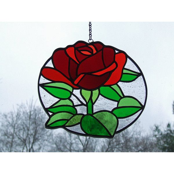 Stained Glass Rose, Unique Wedding Gift, Unique Anniversary Gift,... (€1.375) ❤ liked on Polyvore featuring home and home decor