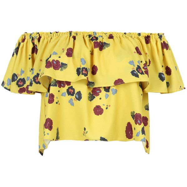 b8dda519c32b10 Yellow Off Shoulder Floral Ruffle Chiffon Blouse ( 20) ❤ liked on Polyvore  featuring tops