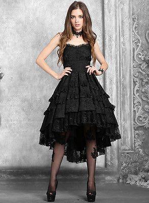 dark in love gothic prom dress black vtg steampunk