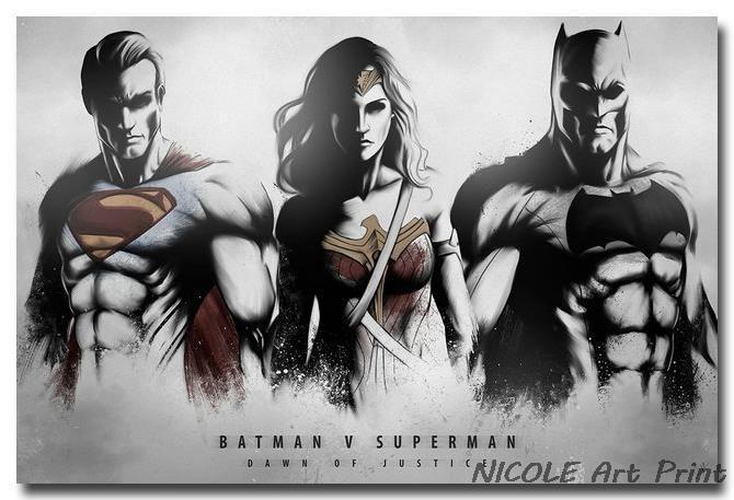 batman superman and wonder woman superhero s movie poster 24x36
