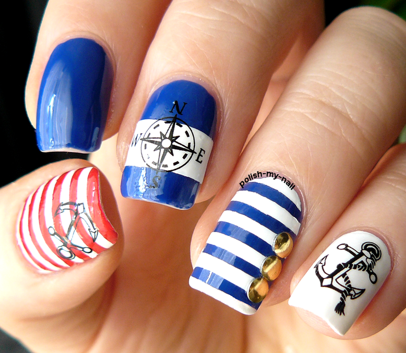 Attractive Design of Nautical Nail Art - Attractive Design Of Nautical Nail Art Nautical Nail Art