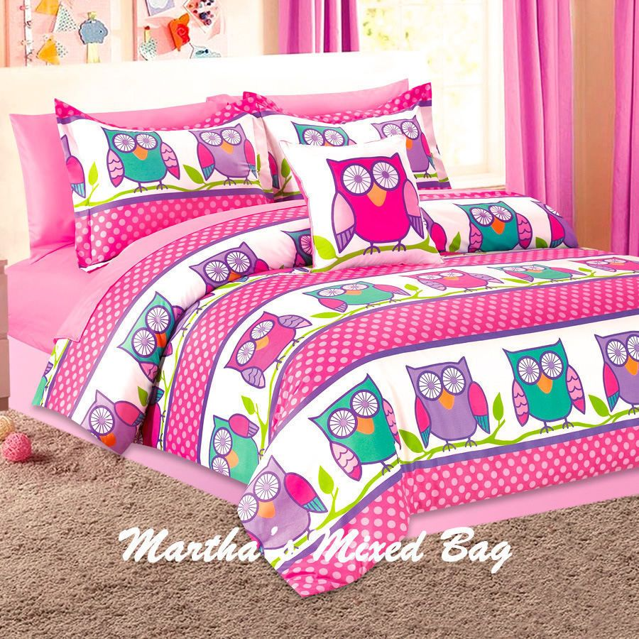 Nature Hoot Owls Girls Pink Lavender Twin Full Size Comforter