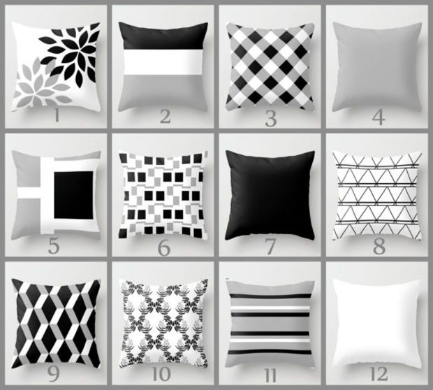 Pillow Covers For Living Room Need Help Designing My Throw Cover Black White Grey Couch Cushion Contemporary Home Decor Decorative