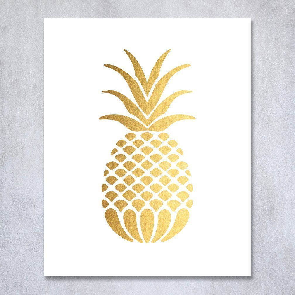 Pineapple Gold Foil Art Print Small Poster Tropical Chic Metallic ...