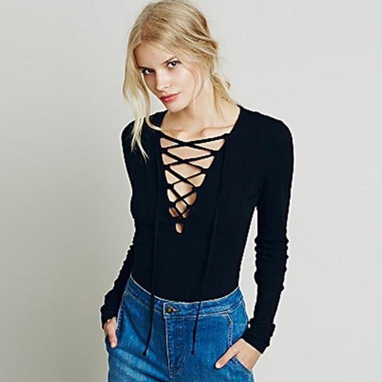 Bluzka Dekolt Sznurki S M L Xl Xxl Boho Fashion Womens Long Sleeve Shirts Women Shirts Blouse