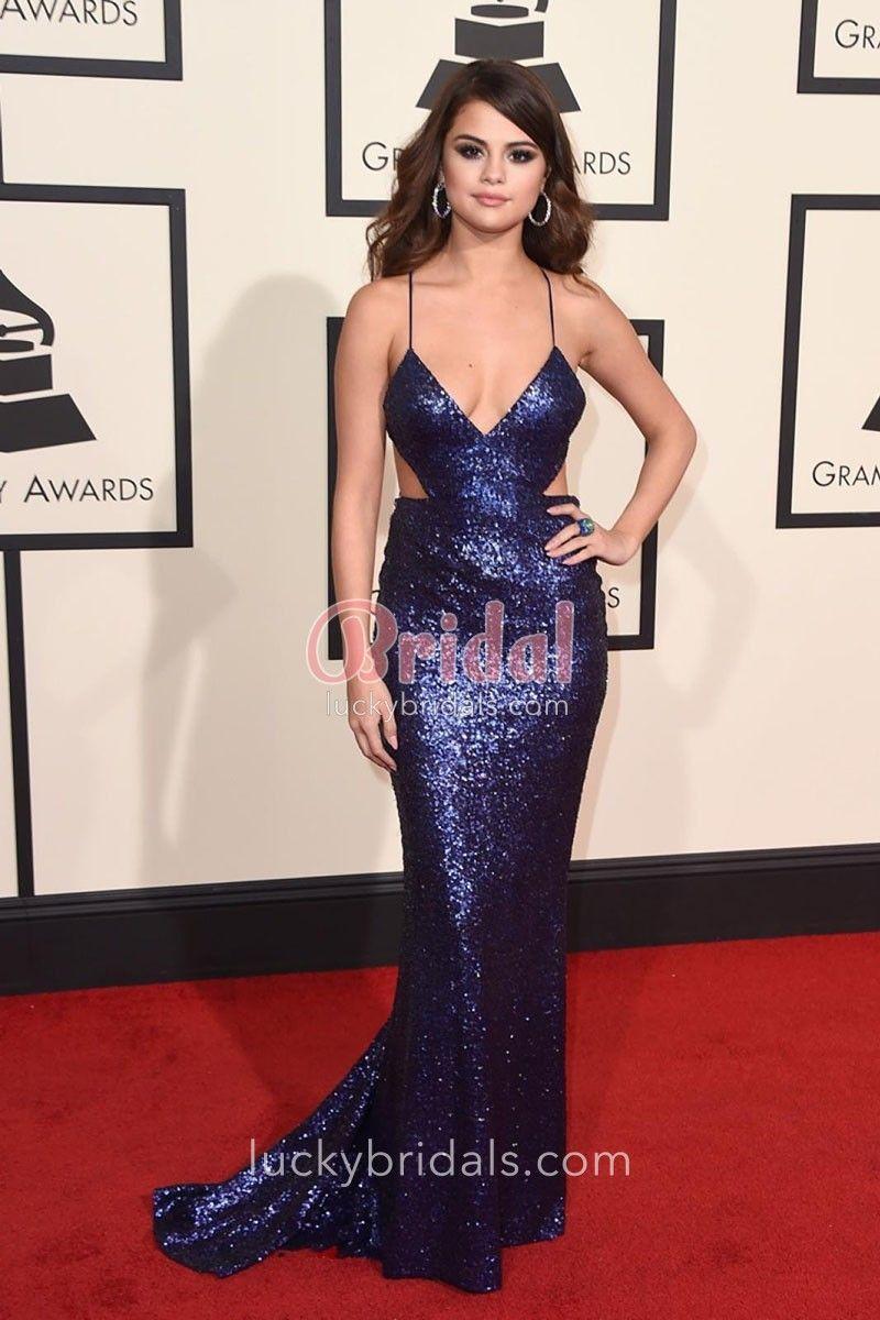 9a4ac1cf92 Selena Gomez Navy Blue Sequin Mermaid Red Carpet Prom Dress Grammys ...