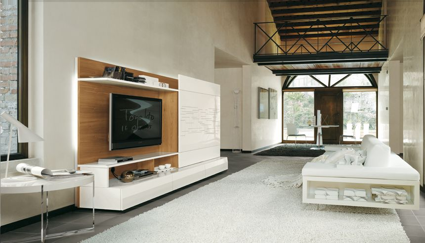 Monoblock wall unit Living room design ideas with white high