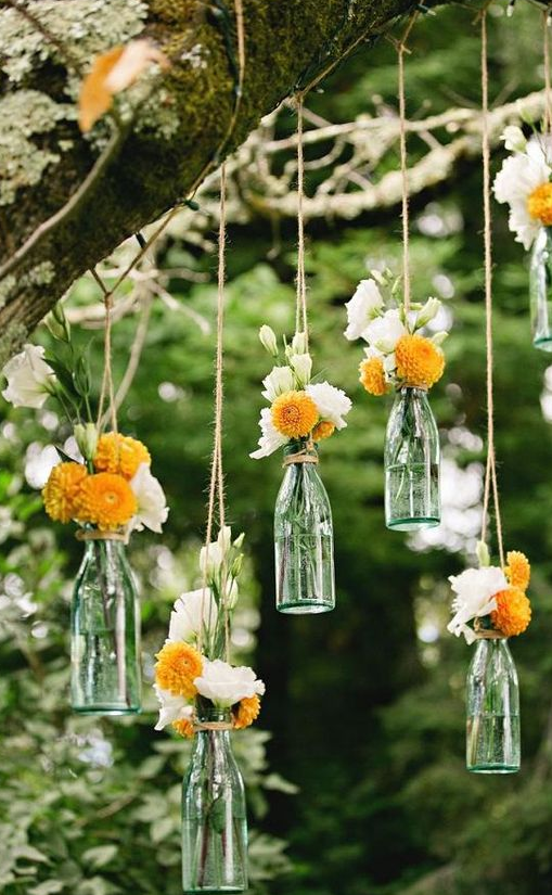Simple outdoors wedding decorations Bottles DIY Pinterest