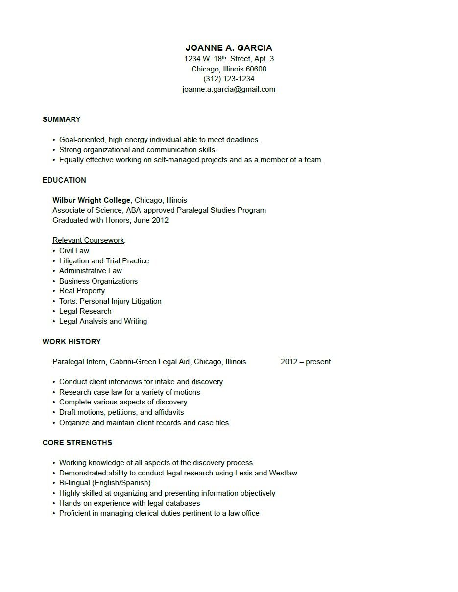 Paralegal Resume Sample Resume Working Girl Pinterest