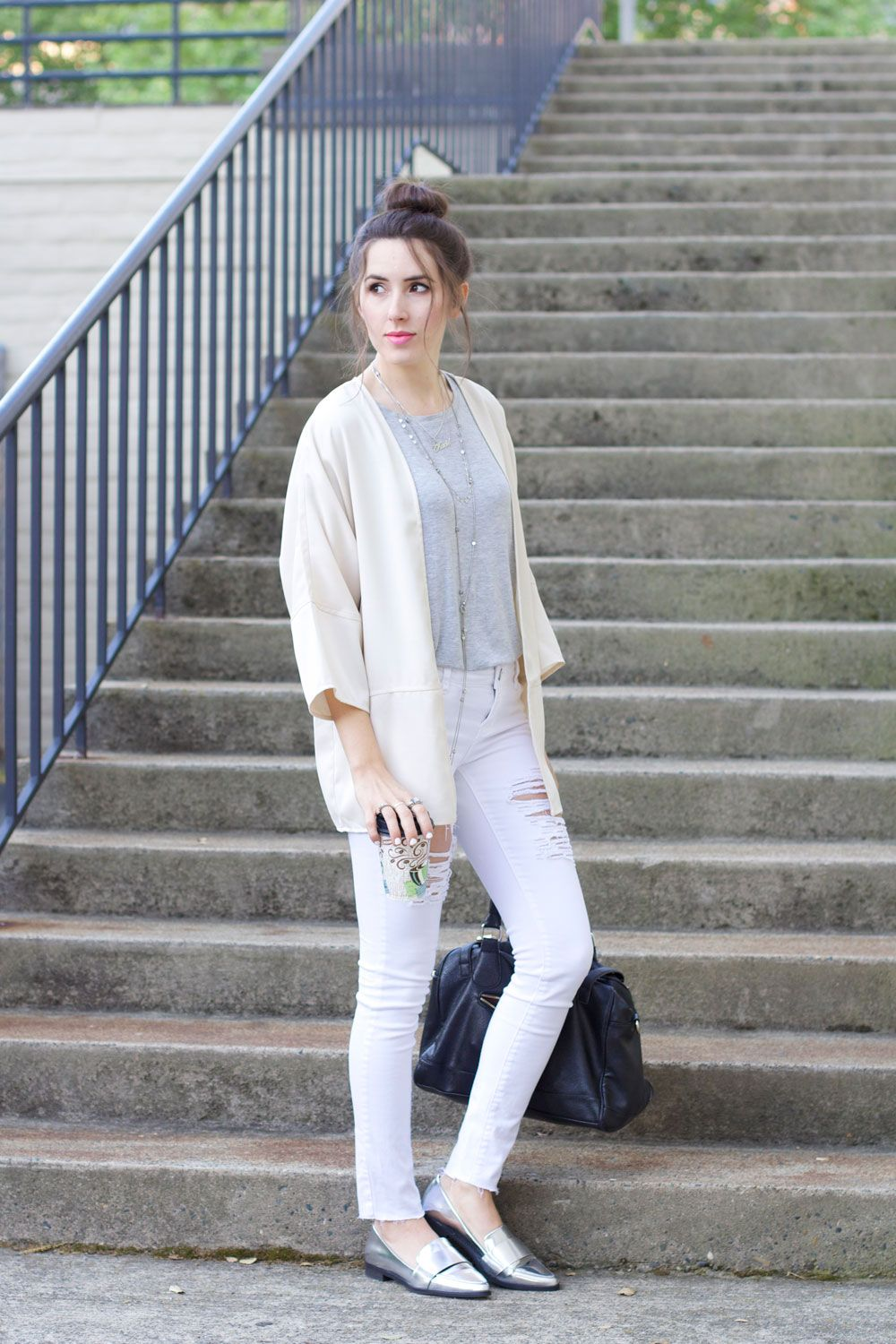 white ripped skinny jeans, cream cardigan, grey t-shirt, silver ...