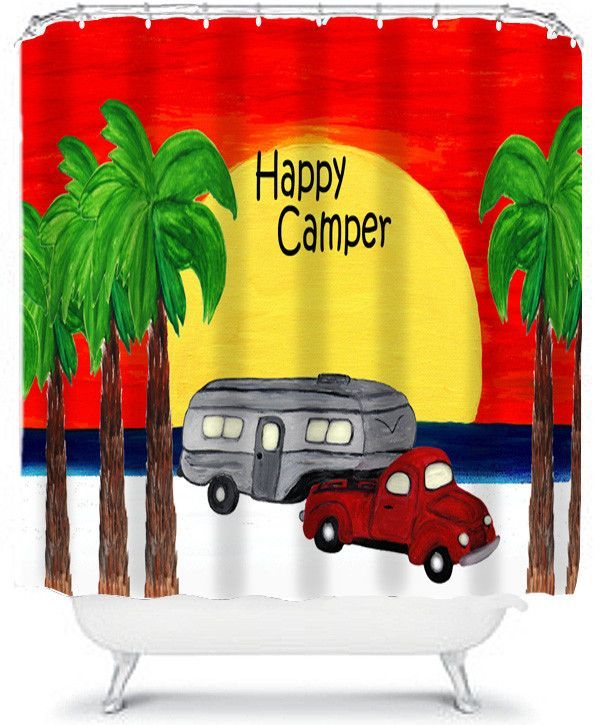 5th Wheel In Giant Sunset Camper Shower Curtain From My Art Happy Campers 5th Wheels Camper