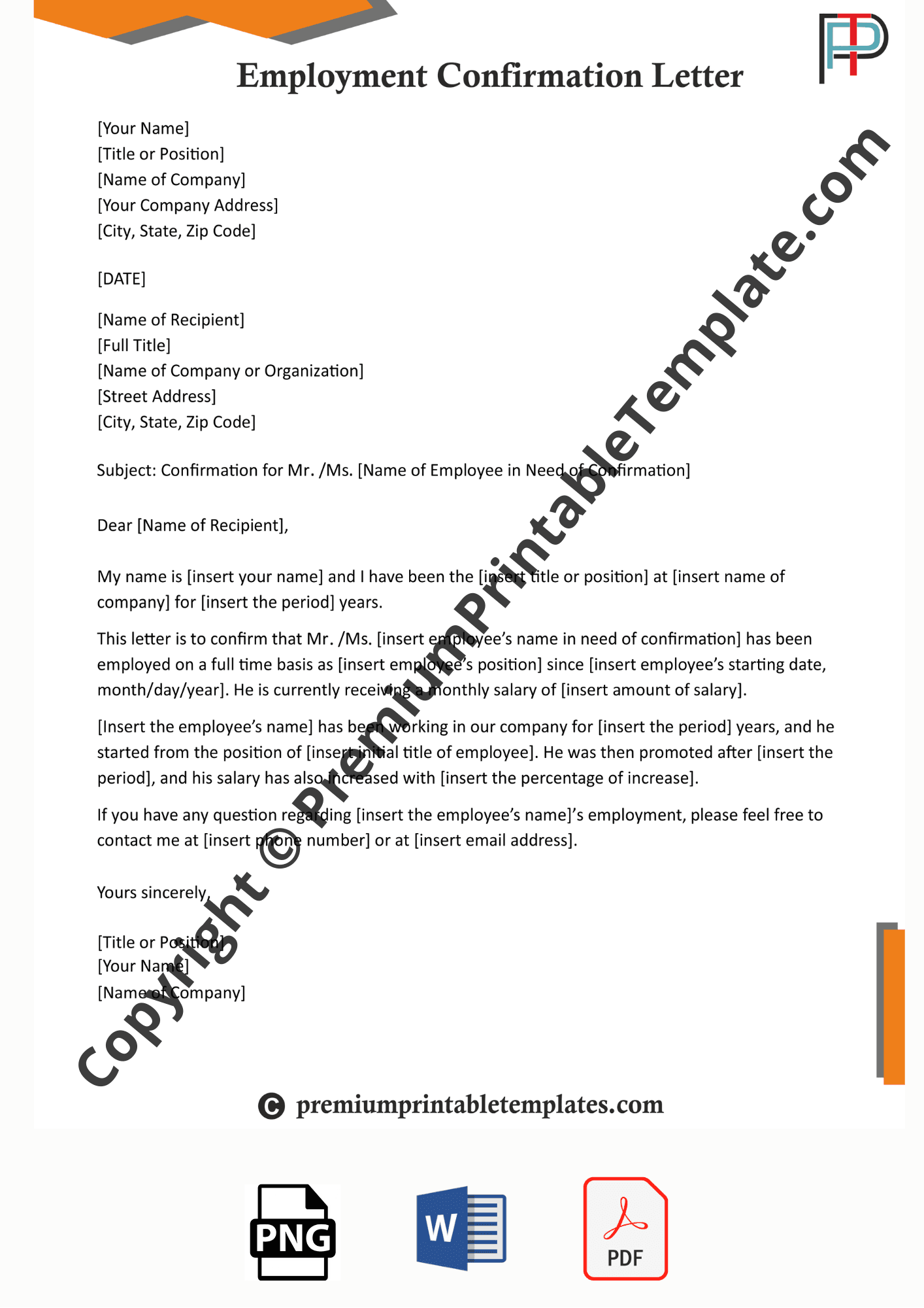 Employment Confirmation Letter Editable & PDF in 2020