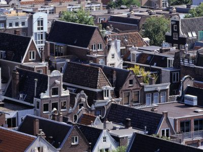 High-Pitched Roof-Tops of Houses, Amsterdam, Netherlands Valokuvavedos