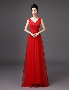 d9562dc712b Floor-length+Lace+Bridesmaid+Dress+-+Sheath+ +Column+V-neck+with+ ...