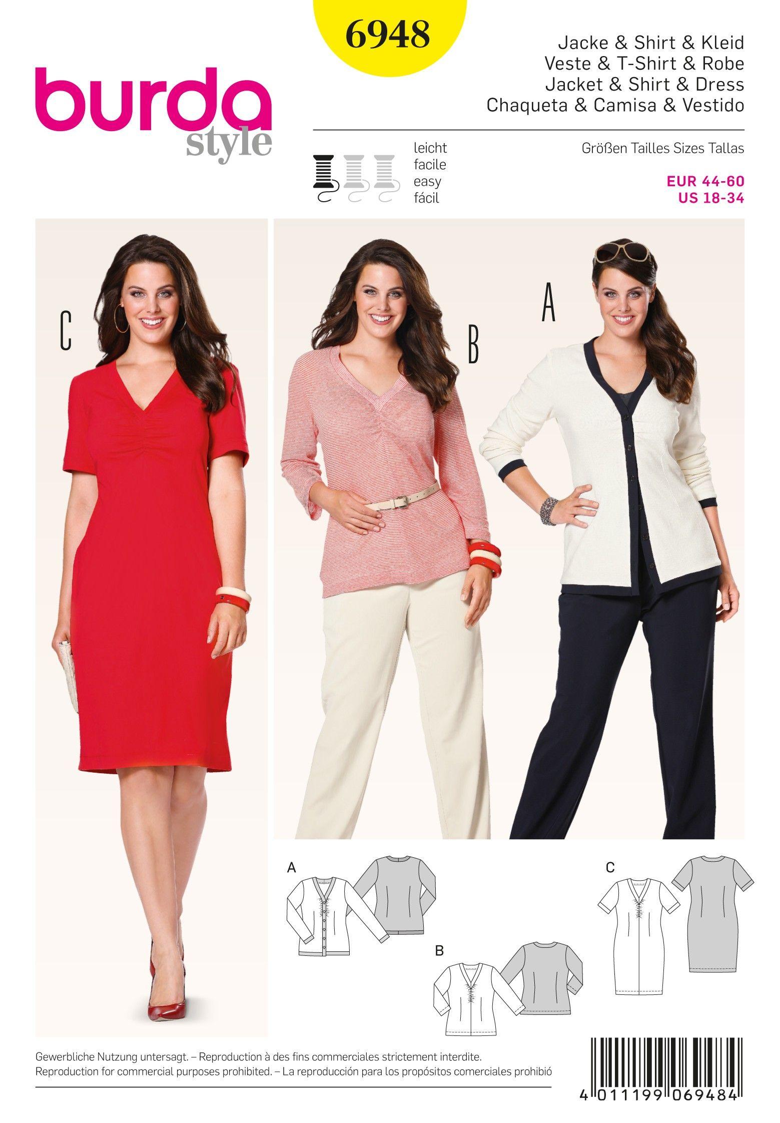 Burda B6948 Burda Style Plus to size 60 Sewing Pattern