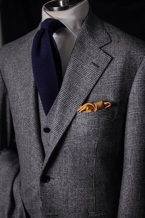d23bb6015 Classic Glen Check Tweed 3-piece suit paired with knit tie and ...