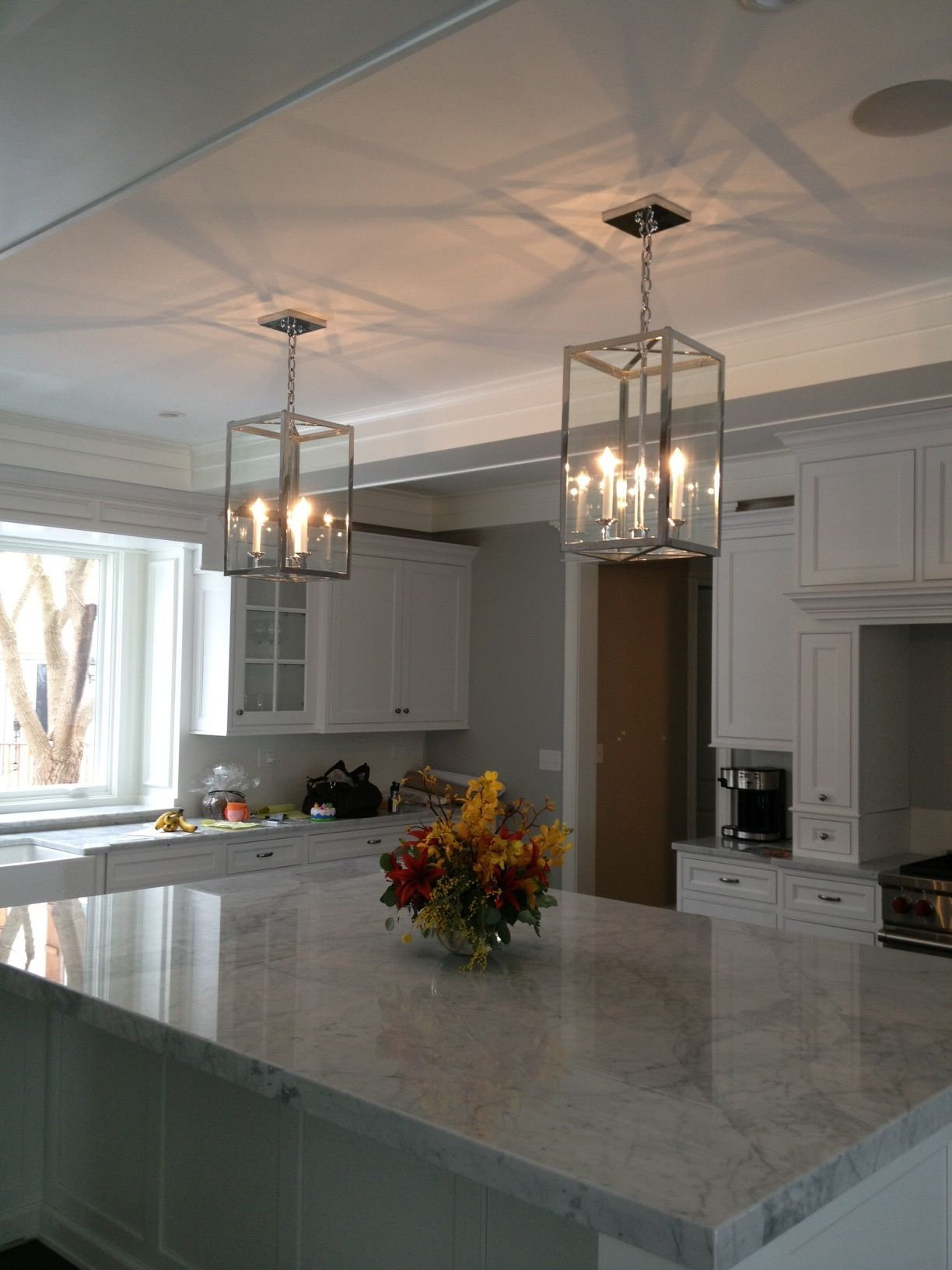 Polished Nickel Decade Lanterns Over The Kitchen Island Www - Lanterns over kitchen island