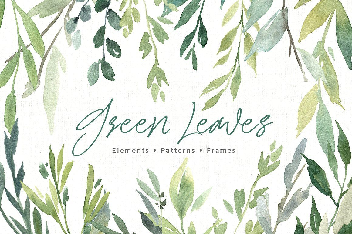 Watercolor Greenery Green Leaves Png Watercolor Graphic Watercolor Clipart Clip Art