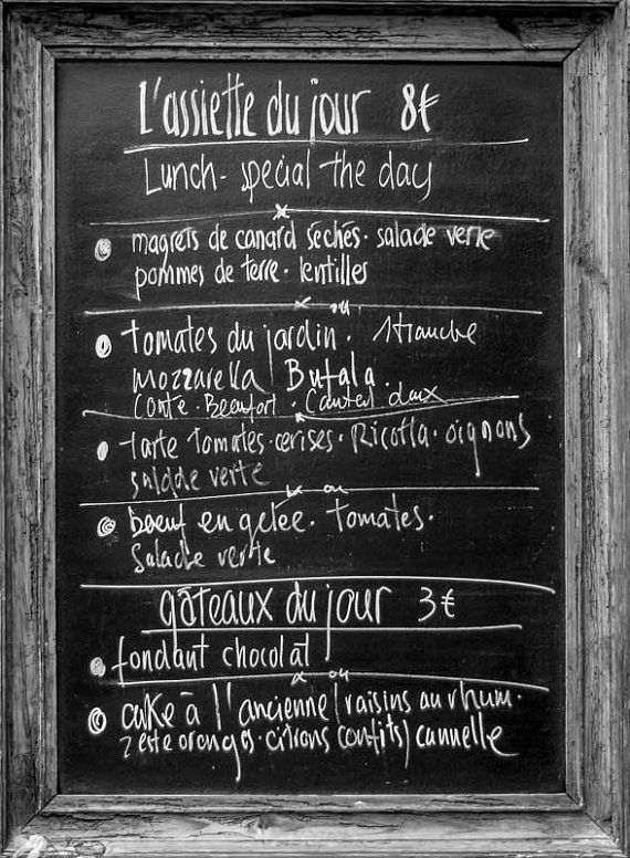 Menu Photograph Black and White Print French Writing Art