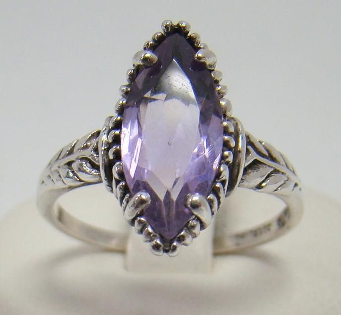 KABANA 925 STERLING SILVER RING 16MM X 7MM MARQUISE SOLITAIRE AMETHYST SIZE 9 #Kabana #Solitaire