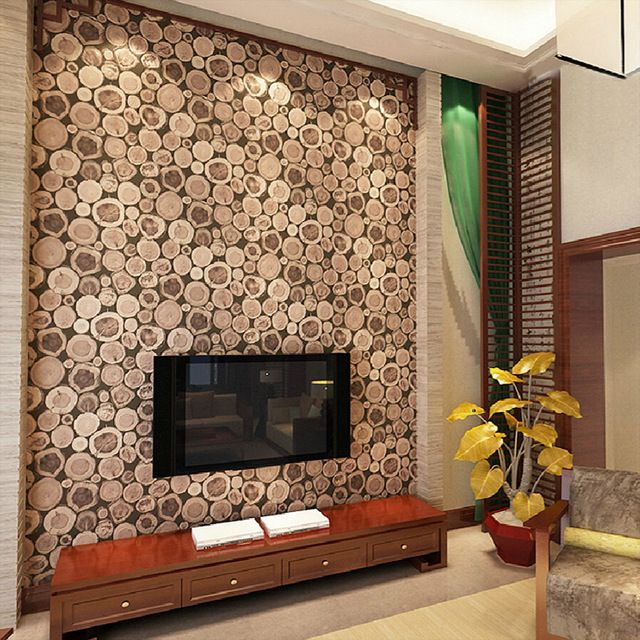 super thick 3d wood log texture embossed pvc waterproof wall paper