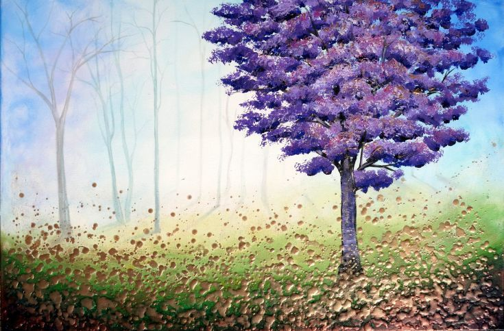 ARTFINDER: Lavender Tree by Amanda Dagg - Deep edge box canvas. Ready to hang from box to Wall! Gold purple copper and green deeply textured tree painting by Amanda Dagg. Varnished with several lay...