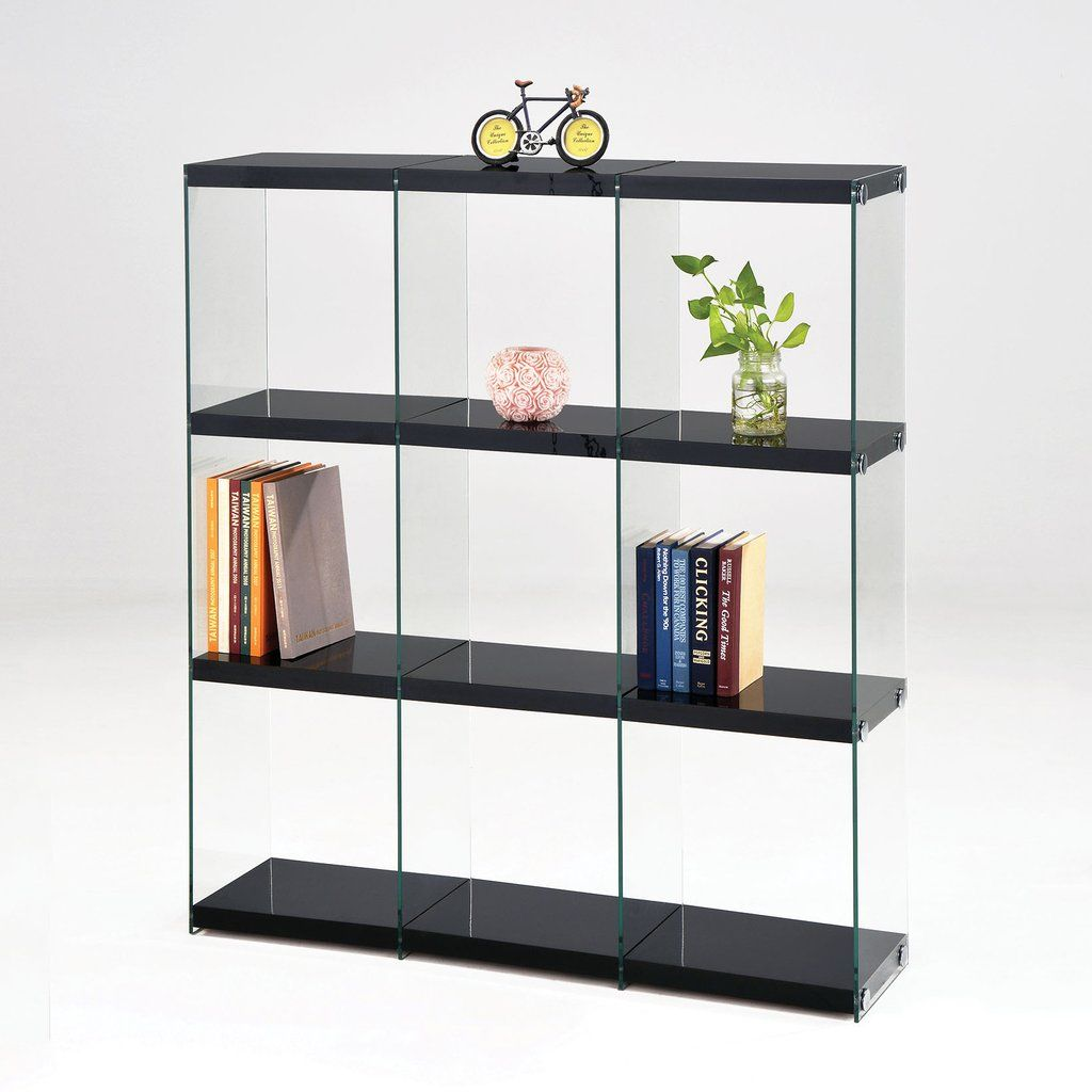 Acme Furniture Baxter Black Clear Glass Bookcase 92184