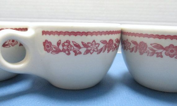 Buffalo China Kenmore Pattern Retro Diner Restaurant Ware Red on ...