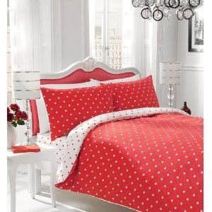 Polka Dot White And Red Double Bed Reversible Duvet Cover Set